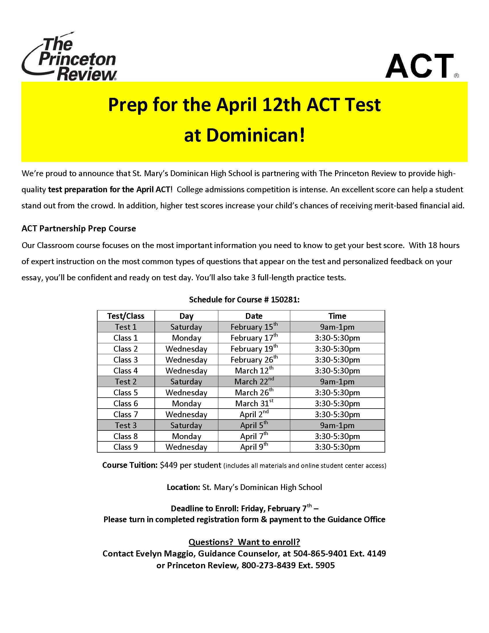 ACT Course Information - St. Mary's Dominican High School